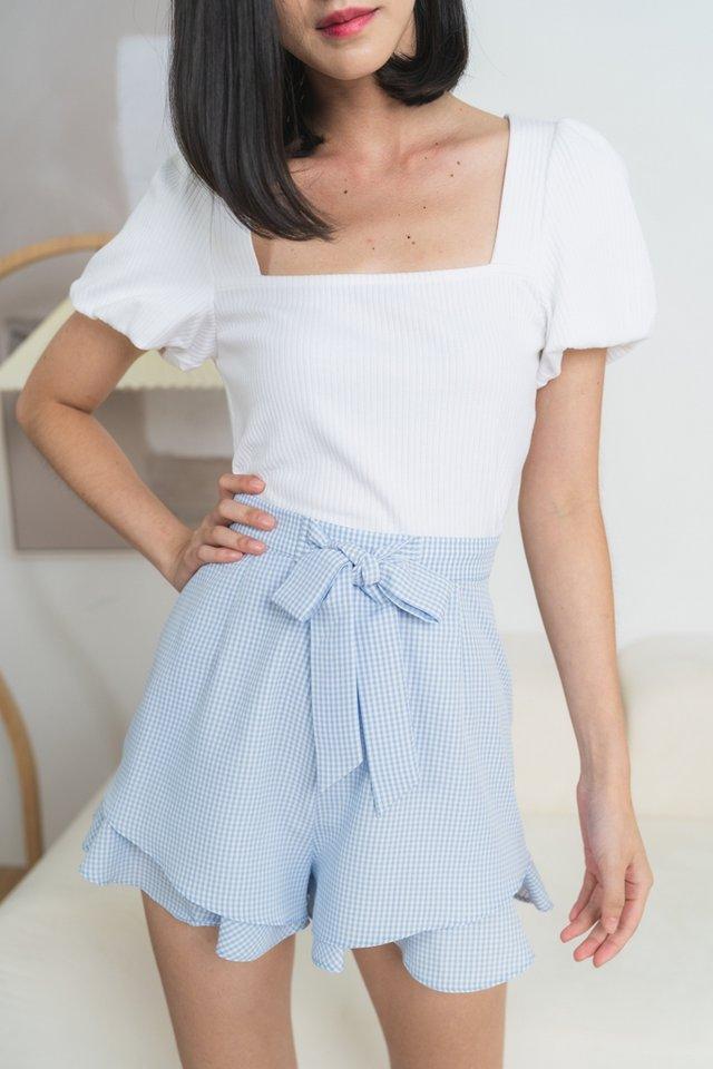 Juna Gingham Ribbon Shorts in Blue