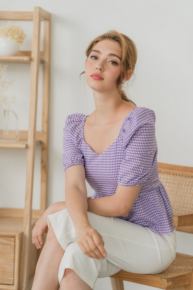 Tricia Gingham Babydoll Top in Purple