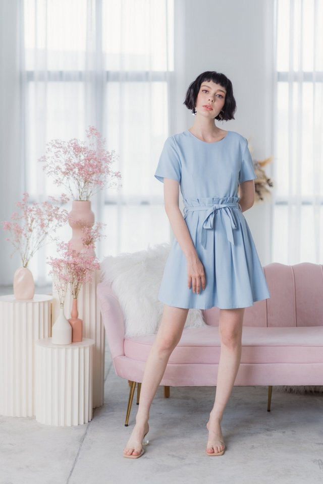 Audree Paperbag Dress in Baby Blue