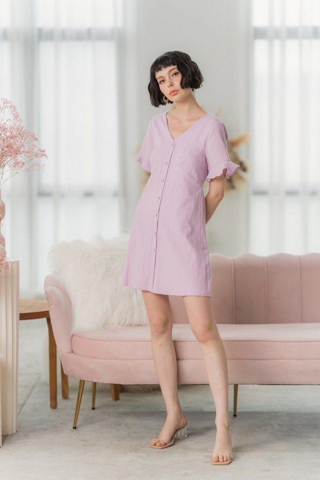 Edith Textured Flutter Sleeves Dress in Pink