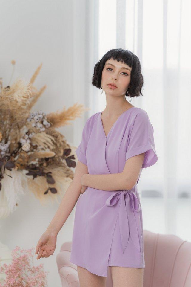 Sheila Faux Wrap Romper in Lilac