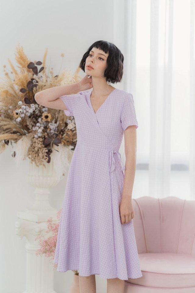 Mikaela Textured Wrap Midi Dress in Lilac