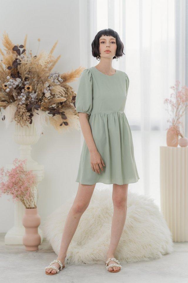Jamie Scallop Babydoll Dress in Sage