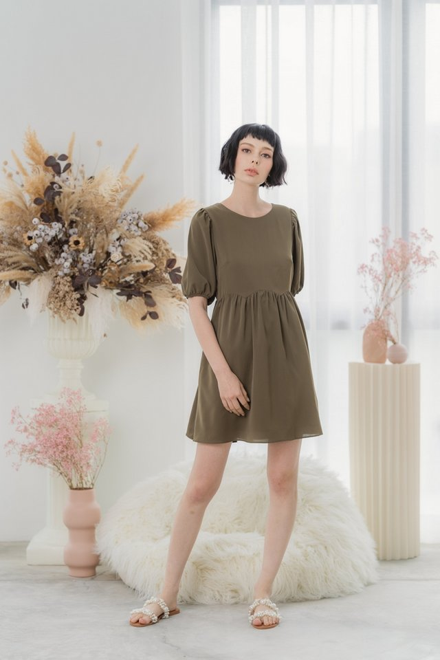 Jamie Scallop Babydoll Dress in Olive