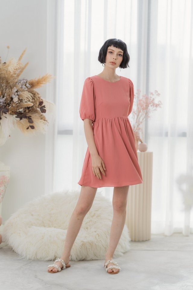 Jamie Scallop Babydoll Dress in Coral Pink