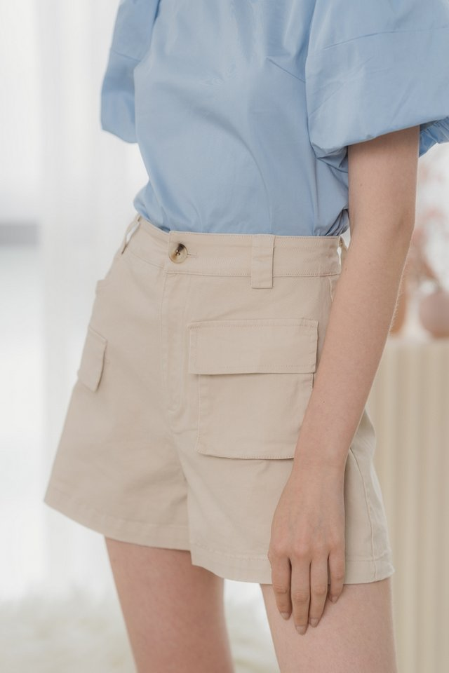 Bellamy High Waisted Pocket Shorts in Sand