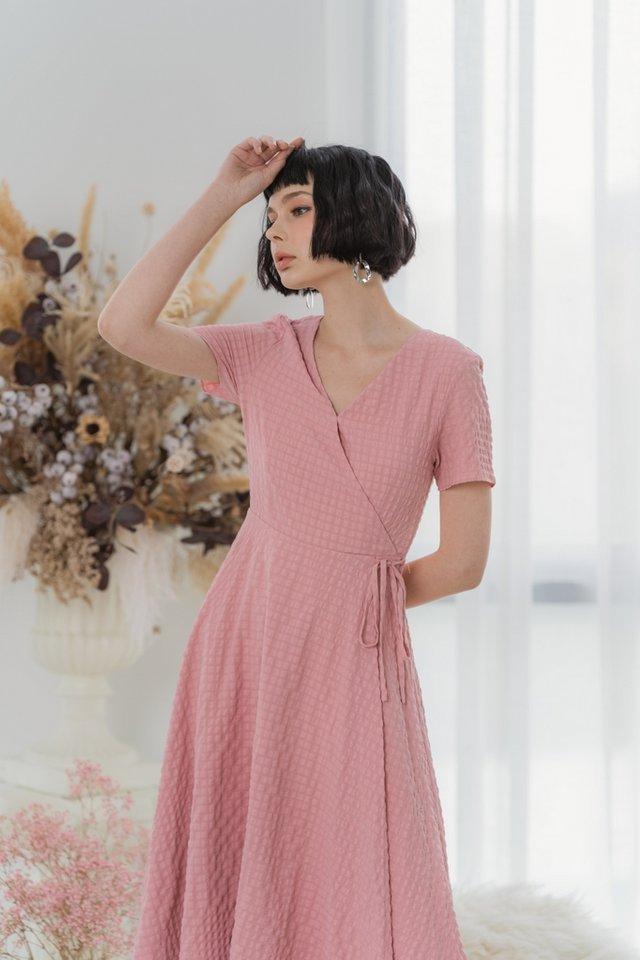 Mikaela Textured Wrap Midi Dress in Pink