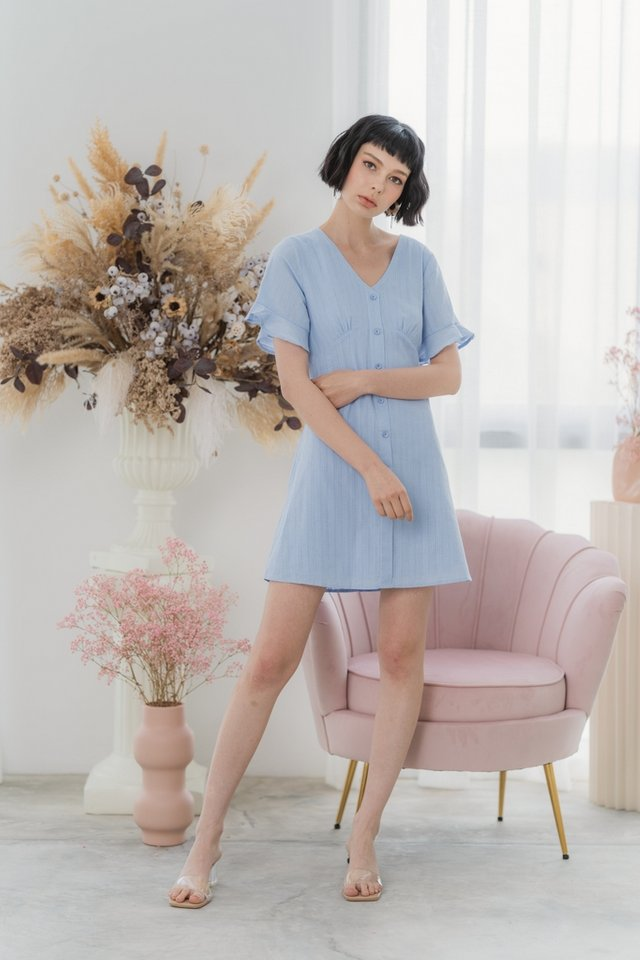 Edith Textured Flutter Sleeves Dress in Powder Blue