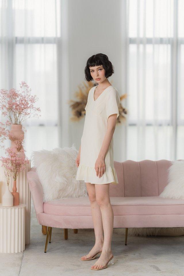 Desiree Empire Dropwaist Dress in Cream