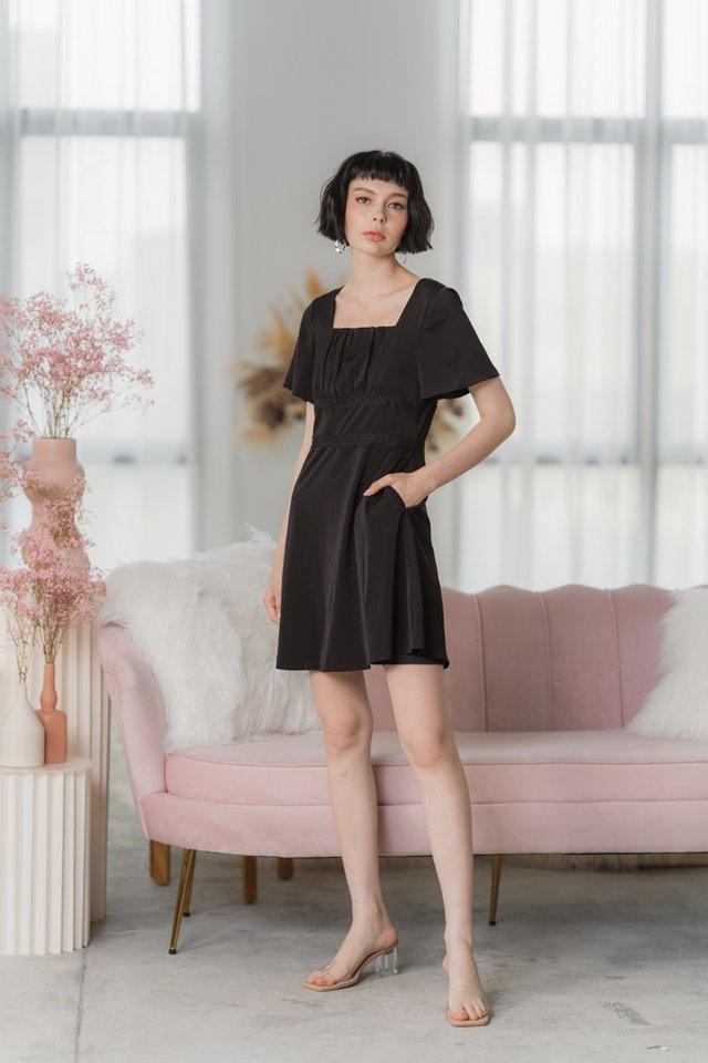 Jerlynn Crochet Ruched Dress in Black