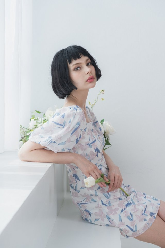 Luisa Floral Puffed Sleeves Dress in White