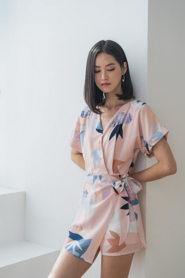 *BACKORDER* Luciella Abstract Overlap Romper in Peach