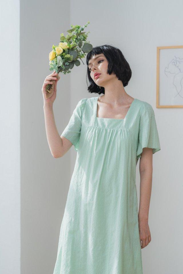 Ninetta Cotton Swiss Dot Midi Dress in Mint