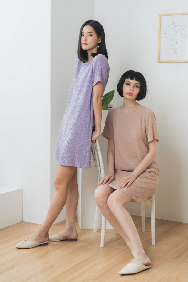 Galiana Textured Shift Dress in Dusty Lilac