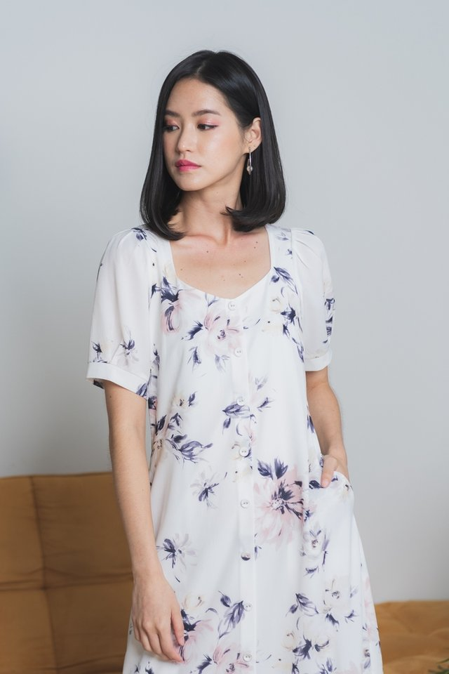Fiorella Floral Button Midi Dress in White