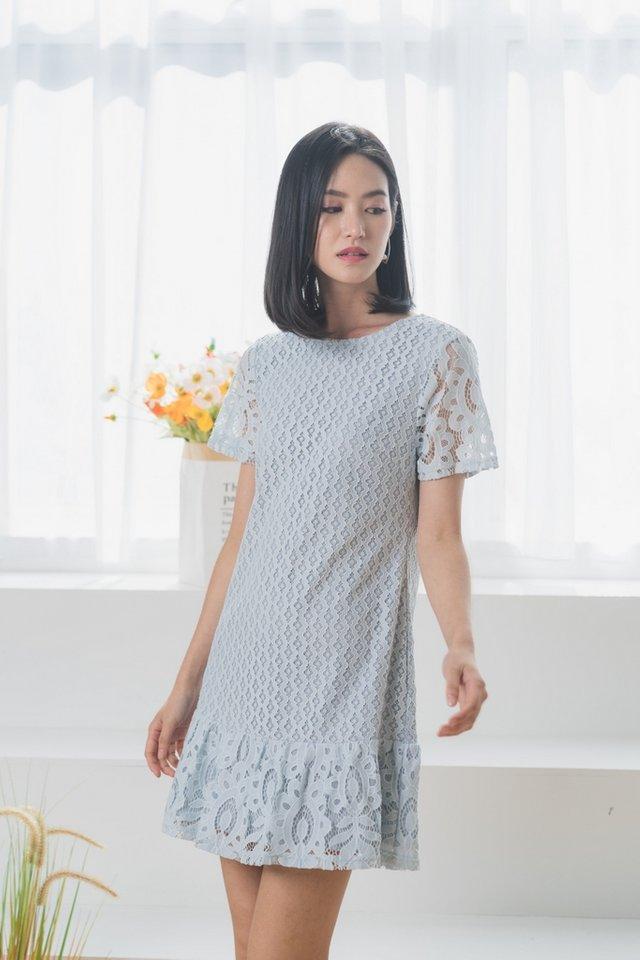Alessio Lace Dropwaist Dress in Light Blue