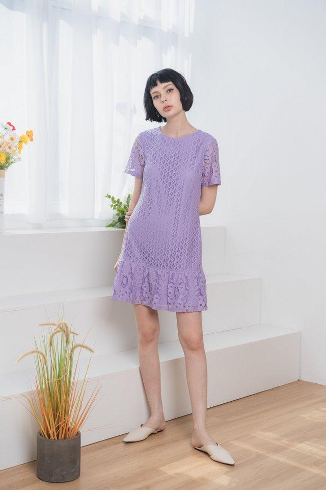 Alessio Lace Dropwaist Dress in Lilac