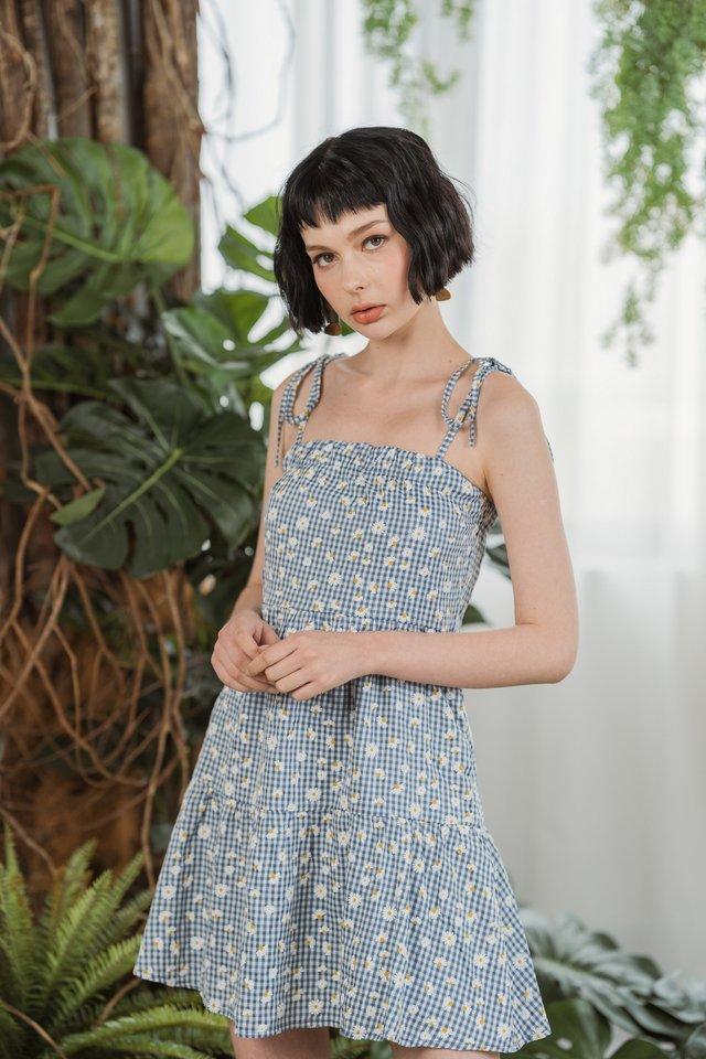 Dahlia Daisy Ribbon Ruffled Dress in Blue