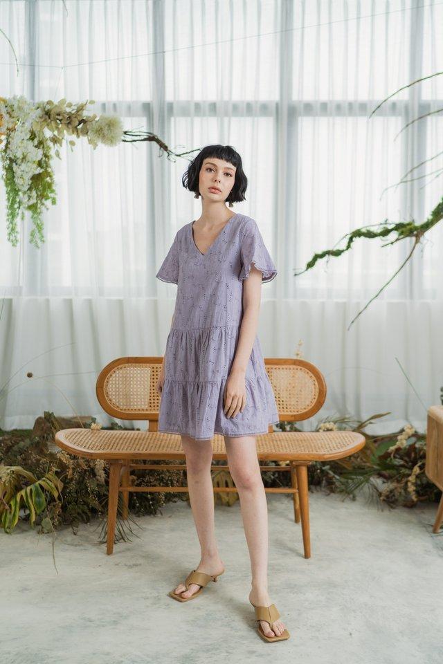 Melanie Eyelet Ruffled Tiered Dress in Lilac
