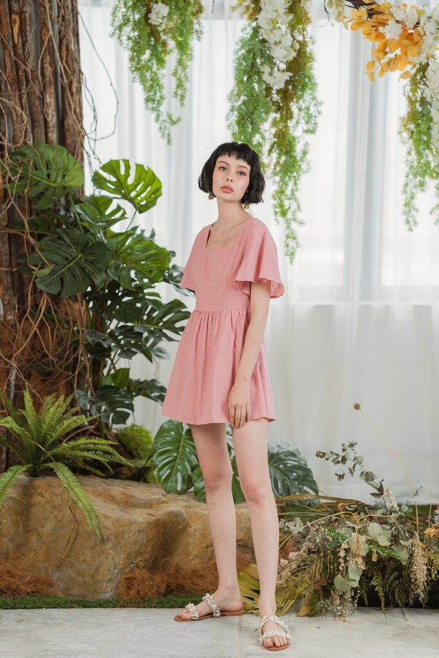 Steffi Flare Sleeves Swiss Dot Skirt Romper in Pink
