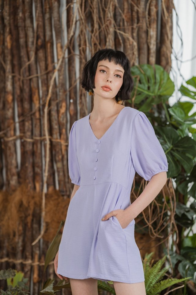 Macey Button Puffed Sleeves Romper in Lilac