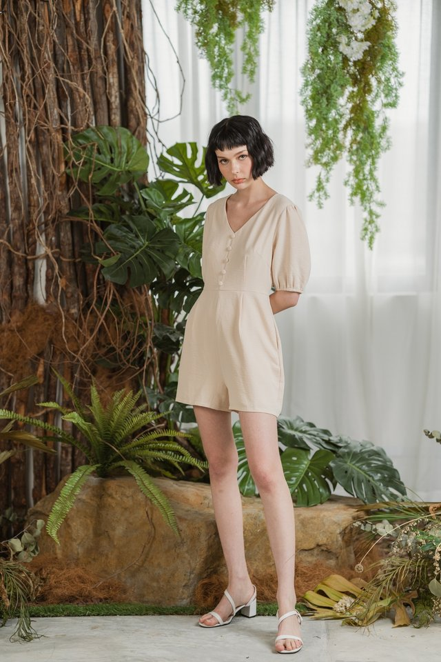 Macey Button Puffed Sleeves Romper in Cream