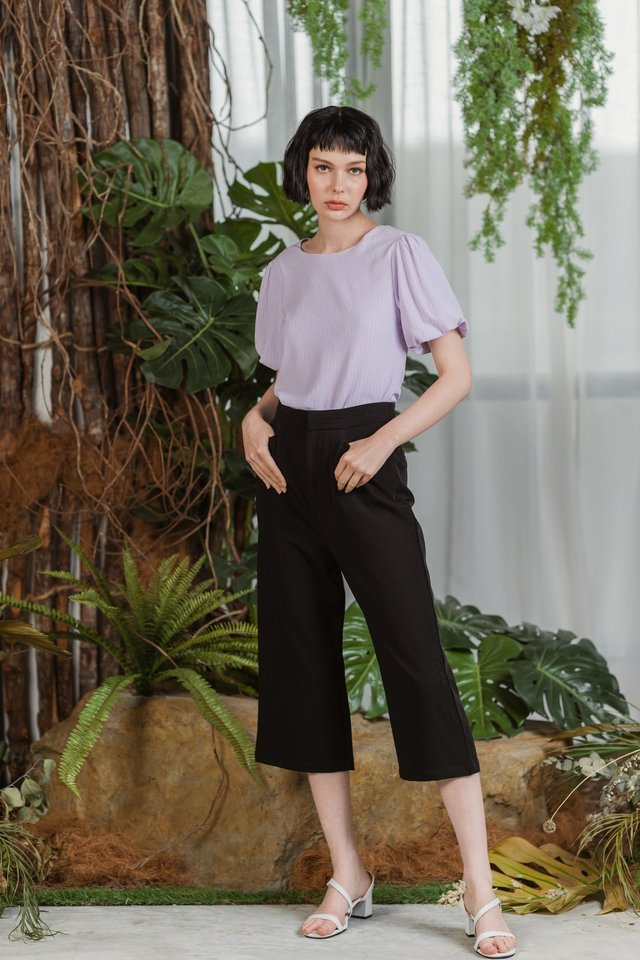 Cindie Panel Waist Culottes in Black