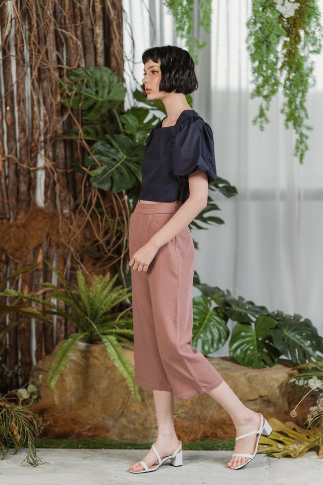 Cindie Panel Waist Culottes in Mauve Pink