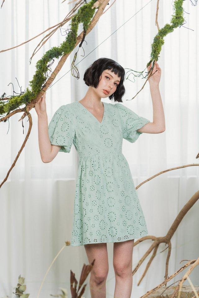 Odelia Eyelet Puffed Sleeves Dress in Sage