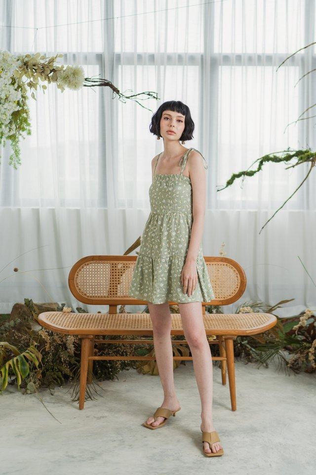 Dahlia Daisy Ribbon Ruffled Dress in Sage