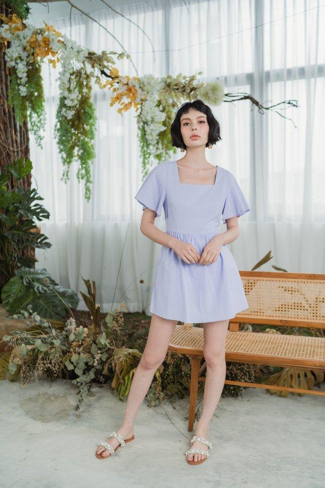 Steffi Flare Sleeves Swiss Dot Skirt Romper in Lilac