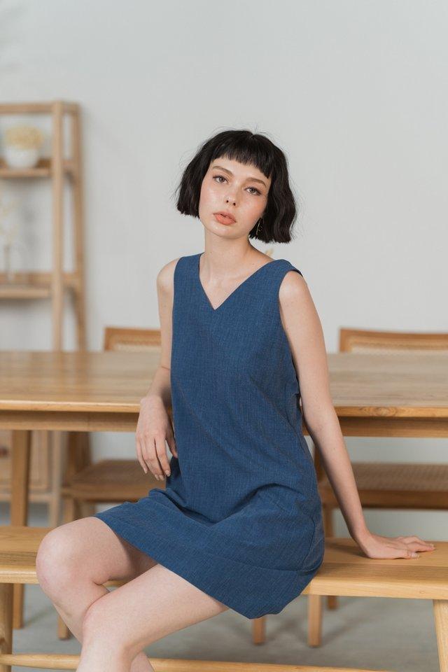 Sharlyn Two Way Button Dress in Dark Denim Blue