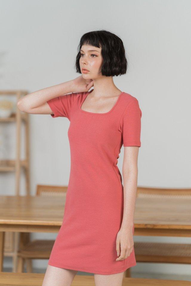 Elsie Ribbed Square Neck Dress in Coral Pink