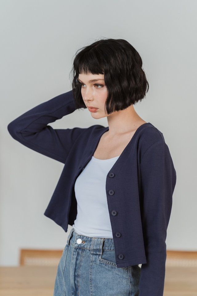 Gwyneth Ribbed Button Cardigan in Navy