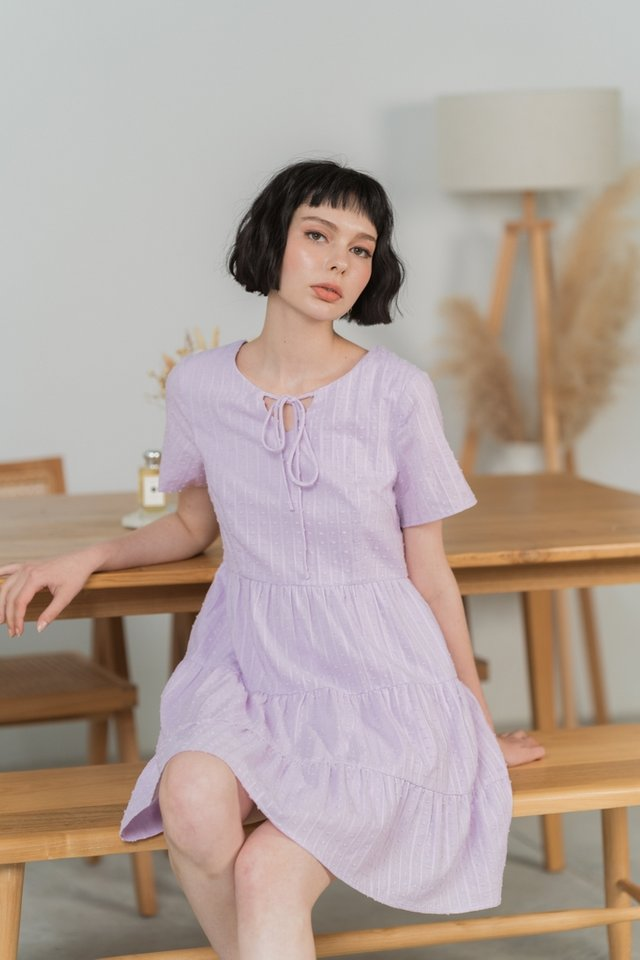 Janelle Textured Swiss Dot Tiered Ruffled Dress in Lilac Pink