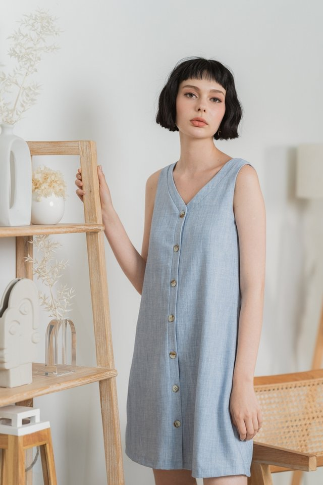 Sharlyn Two Way Button Dress in Light Denim Blue