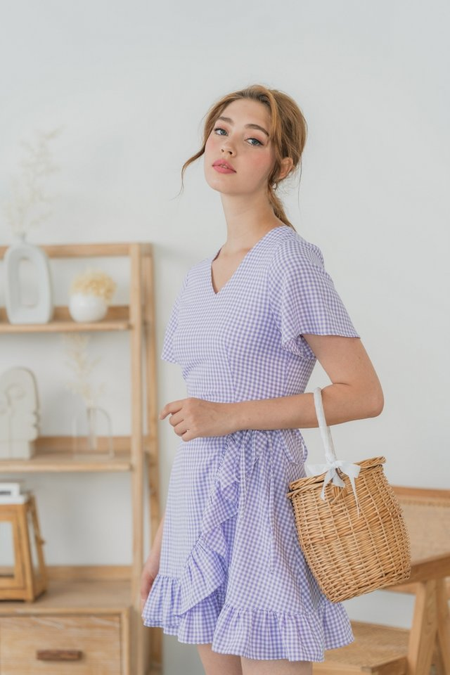 Orianna Gingham Signature Ruffles Dress in Purple