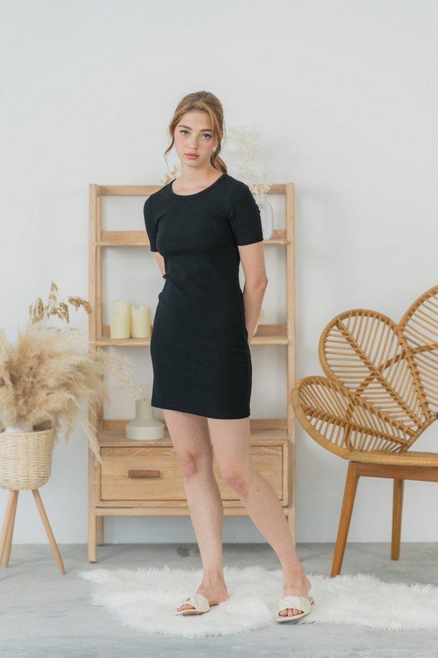 Arianna Ribbed Basic Dress in Black