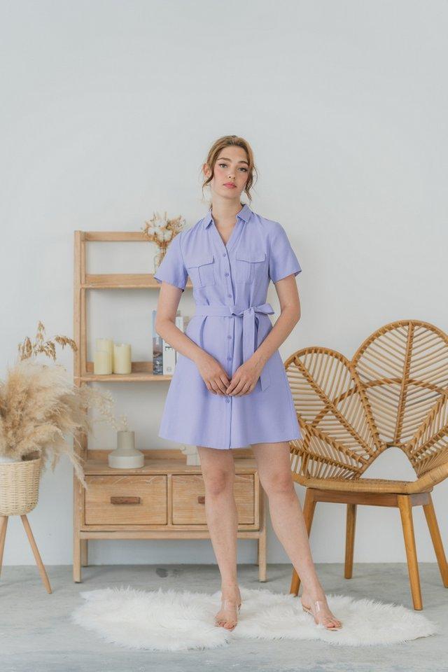 Gilliane Pocket Shirt Dress in Lilac