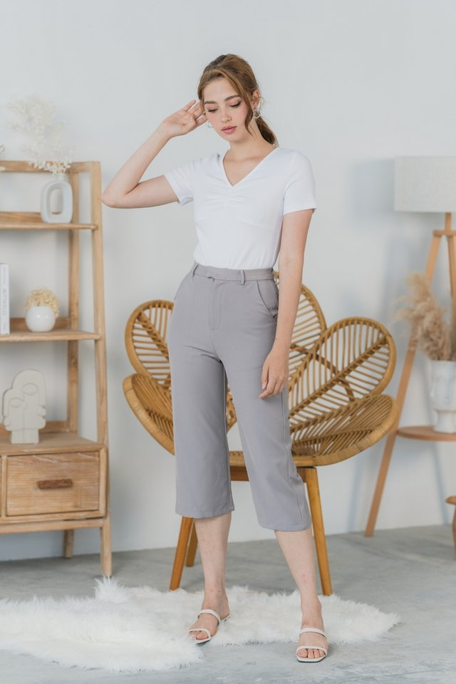 Korinne Wide Leg Pocket Culottes in Grey