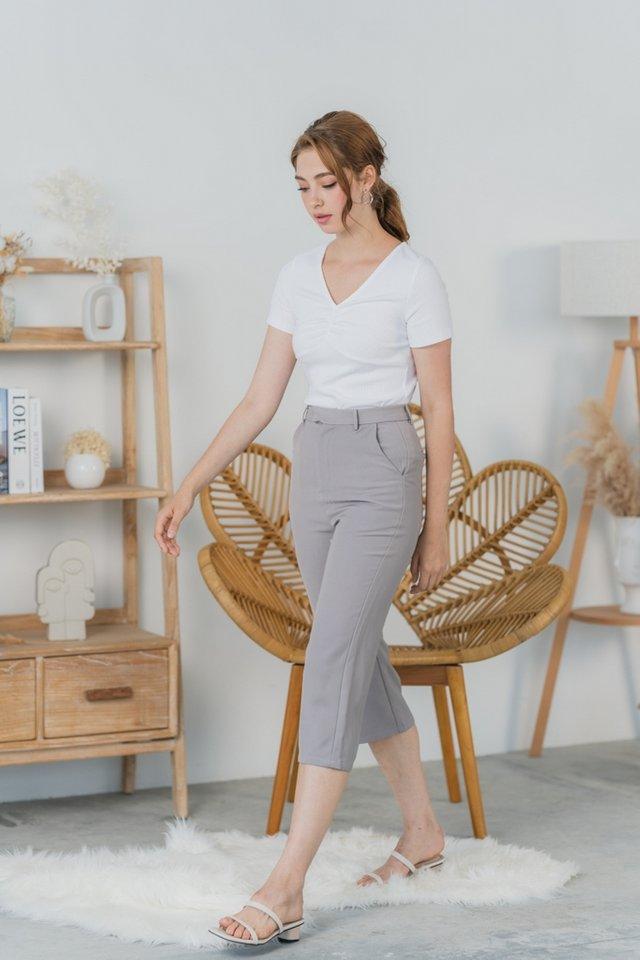 Korinne Wide Leg Pocket Culottes in Grey