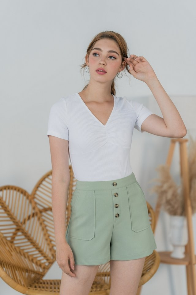 Shirlyn Ribbed Ruched Top in White