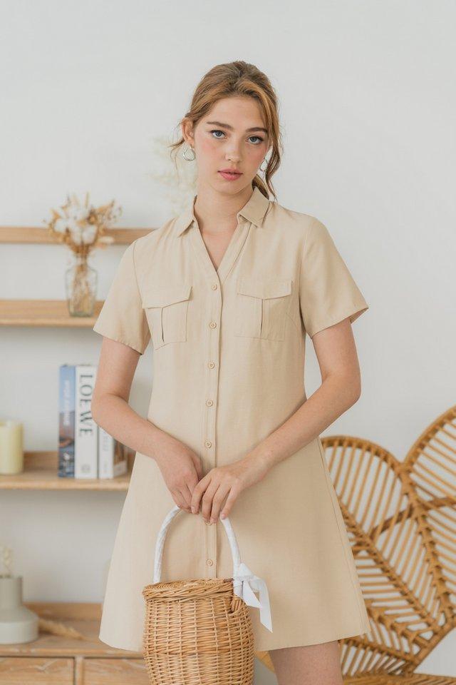 Gilliane Pocket Shirt Dress in Sand