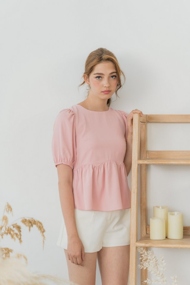 Jamie Scallop Babydoll Top in Pink
