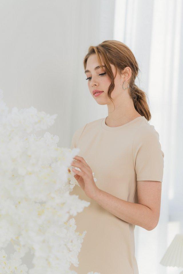 Eliana Cotton Basic Dress in Sand