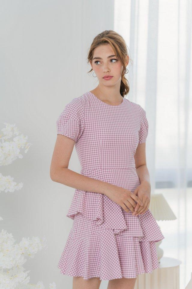 Aesa Gingham Tiered Ruffles Dress in Pink
