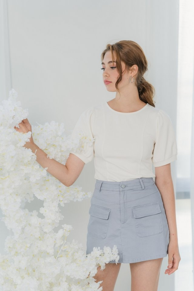 Clarisse Puffed Sleeves Top in White