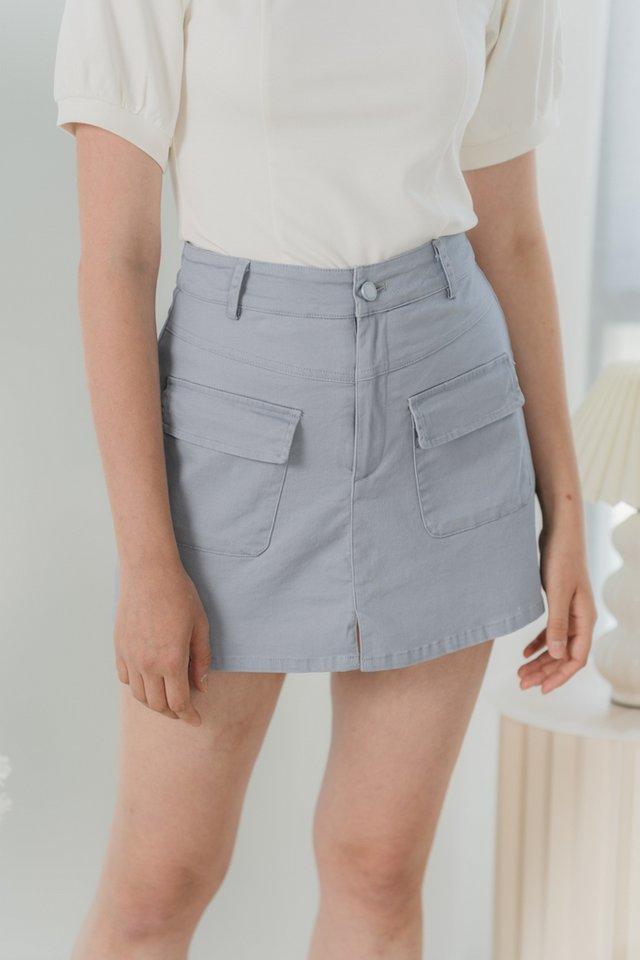 Sophie Pocket Denim Skorts in Lavender Grey (S)