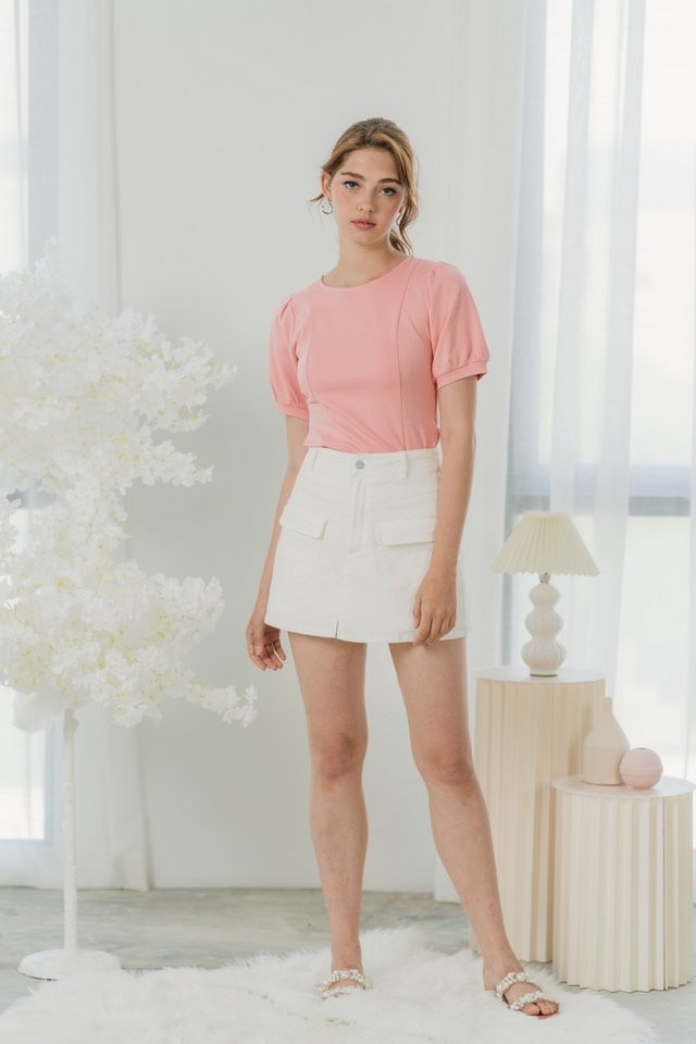 Clarisse Puffed Sleeves Top in Rose Pink
