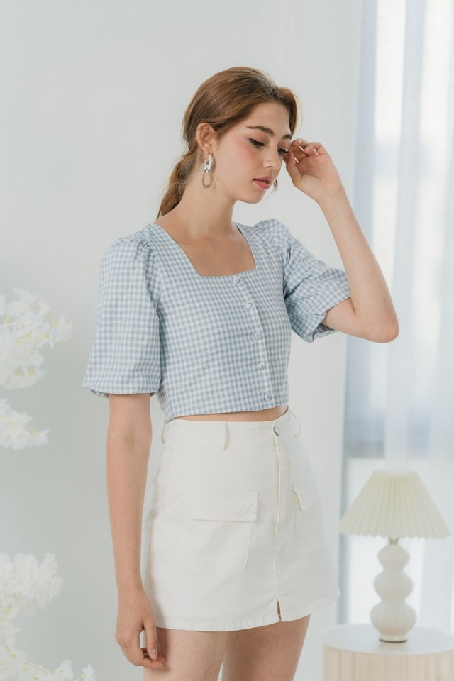 Vicki Gingham Button Crop Top in Baby Blue